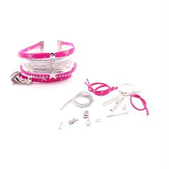 Kit Bracelet Liberty de lawn rose fuchsia, suédine ton rose et blanc, cuir argenté - 1 pièce