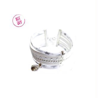 Kit Bracelet Liberty De Lawn blanc étoiles argentées, suédine ton blanc, cuir blanc  - 1 pièce