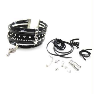 Kit Bracelet Liberty De Lawn noir étoiles argentées, suédine ton noir, cuir vernis noir - 1 pièce