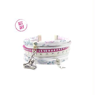 Kit Bracelet Liberty Felicity tons rose blanc, suédine, ton fuschia et blanc, cuir argenté - 1 pièce