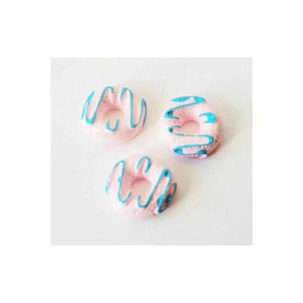 Cabochon Donut 10mm ROSE/BLEU - Photo n°1