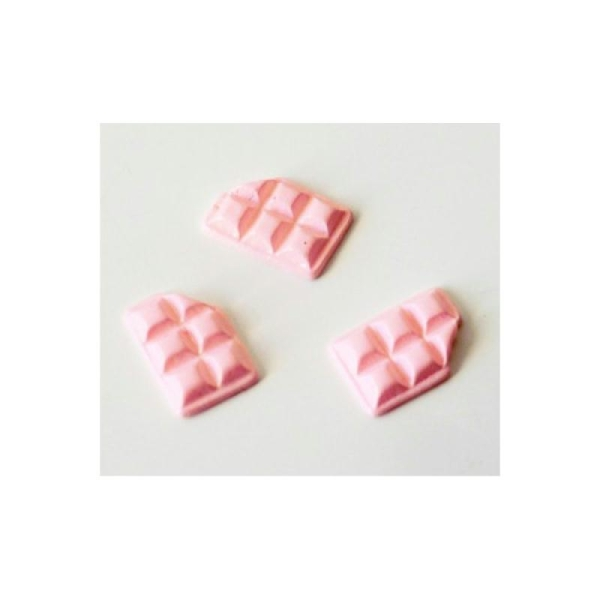 Cabochon Tablette Chocolat 10mm ROSE - Photo n°1