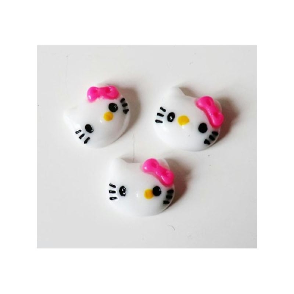 Cabochon Personnage Chat 12mm BLANC/FUCHSIA - Photo n°1