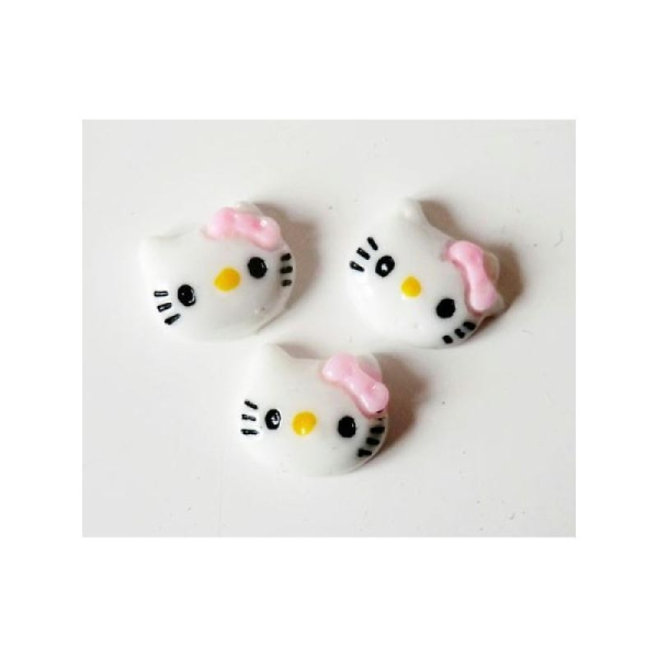 Cabochon Personnage Chat 12mm BLANC/ROSE - Photo n°1