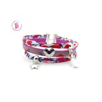 Kit Bracelet Liberty Wiltshire rouge, cuir rose coeur, passant coeur, mini pompon blanc - 1 pièce.