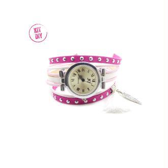 Kit Bracelet montre suédine cloutée fuchsia 5mm, cuir rond rose et blanc, cuir plat blanc - 1 pièce.