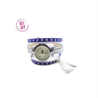 Kit Bracelet montre suédine cloutée bleu royal 5mm, cuir rond bleu métal, cuir plat blanc - 1 pièce.
