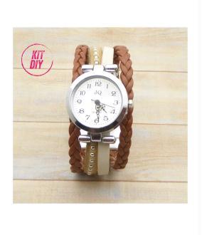 Kit bracelet montre cuir chaîne bille naturel, cuir tressé marron, cuir beige - 1 pièce.