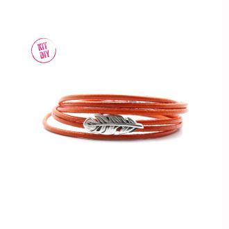 Kit bracelet cuir rond 2mm orange avec passant plume et fermoir magnétique  - 1 pièce