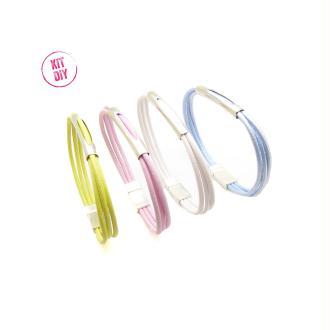 Kit 4 bracelets cuir rond 2mm européen couleur bleu, jaune, blanc, rose, perle métal tube - 1 pièce