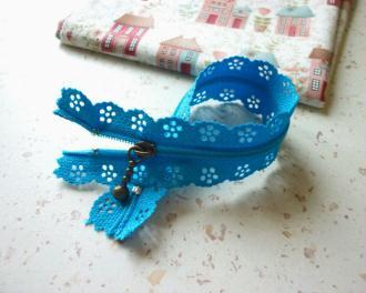 Fermeture éclair 20 cm bleu azur dentelle - non séparable - longueur zip = 20 cm