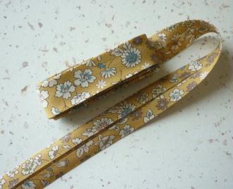 Biais 20 mm jaune moutarde fleuri liberty voile coton fin japonais - vente au mètre