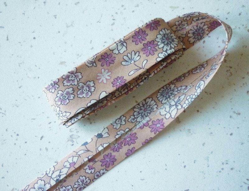 Biais 20 mm fleuri liberty beige ros voile de coton japonais fin vente au m tre biais - Voile de forcage au metre ...