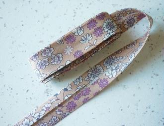 Biais 20 mm fleuri liberty beige rosé voile de coton japonais fin - vente au mètre
