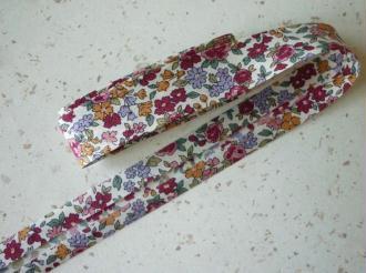 Biais 20 mm liberty fleuri fuchsia parme ocre rose voile de coton japon - Au mètre