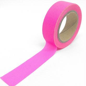 Washi tape uni 10mx15mm rose fluo