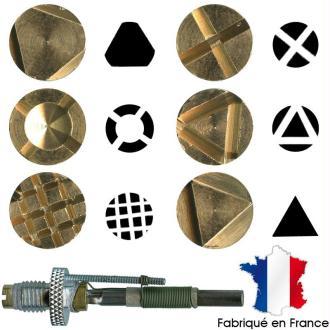 Pointe pyrogravure F21 et marques à chaud motifs 1 à 6