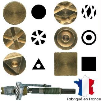 Pointe pyrogravure F21 et marques à chaud motifs 7 à 12