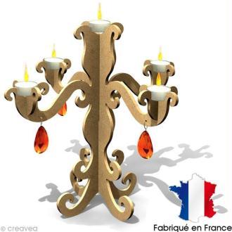 Chandelier baroque en bois 5 bougies 35,5 cm