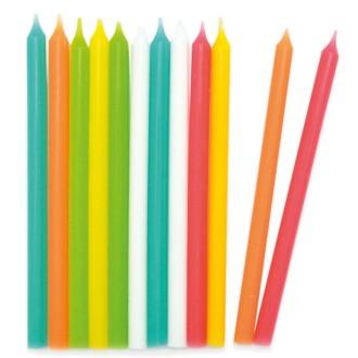 bougies anniversaire couleurs acidulées x 20