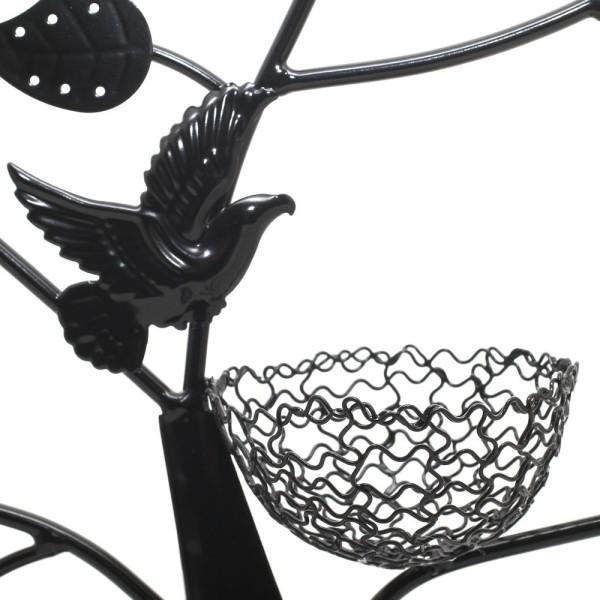 Porte bijoux arbre à boucle d'oreille oiseau (50 paires) Noir - Photo n°2