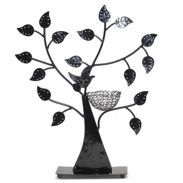 Porte bijoux arbre à boucle d'oreille oiseau (50 paires) Noir - Photo n°1