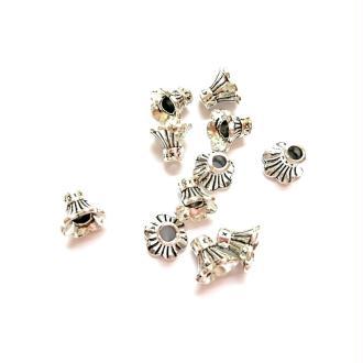 10 Perles coupelles cône trompette argenté