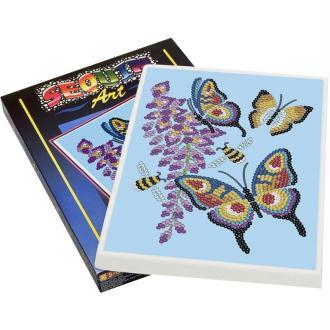 Tableau sequin et perles Art sequin - Papillons 25 x 34 cm