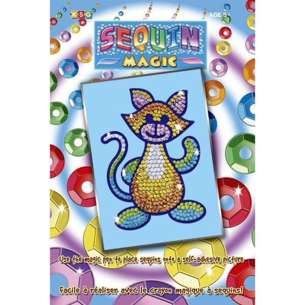 Tableau en sequin Sequins magic - Chat - Photo n°1