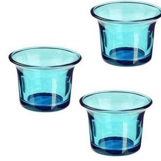 3 Photophores en verre turquoise