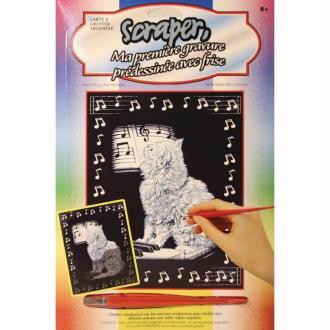 Carte à gratter Scraper Argent 20 x 25 cm - Le chat musicien
