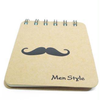 Carnet spirales à customiser moustache 8,5x10cm 170 pages couverture cartonée kraft
