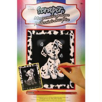 Carte à gratter Scraper Argent avec frise 20 x 25 cm - Dalmatien
