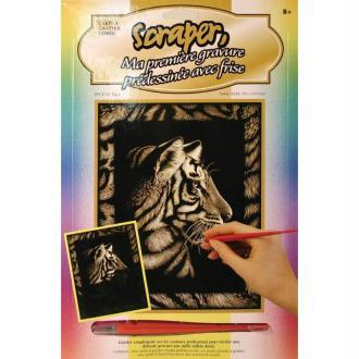 Gravure à gratter Scraper Or avec frise 20 x 25 cm - Tigre