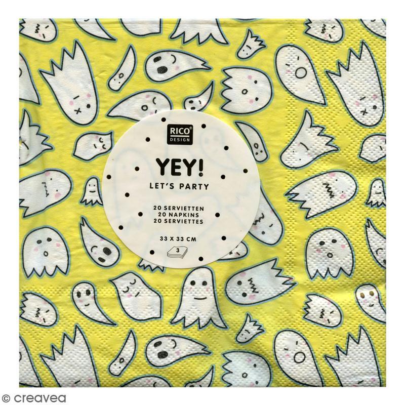 Serviettes en papier - Fantômes Halloween - Dominante jaune - 20 pcs - Photo n°2