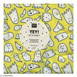 Serviettes en papier - Fantômes Halloween - Dominante jaune - 20 pcs