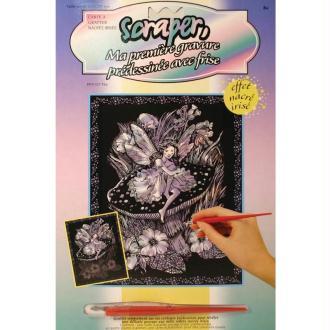 Carton à gratter Scraper Nacré avec frise 20 x 25 cm - Fée