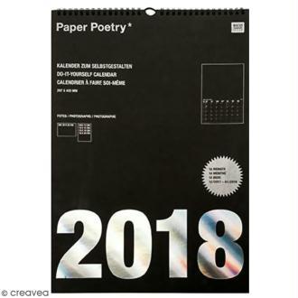 Calendrier 2018 Noir à décorer Paper Poetry - Format A3