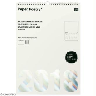 Calendrier 2018 Blanc à décorer Paper Poetry - Format A3