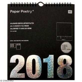 Calendrier 2018 Noir à décorer Paper Poetry - 21,5 x 24 cm