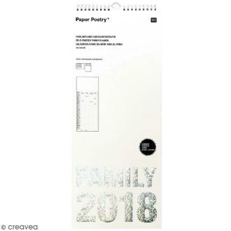 Calendrier Familial 2018 Blanc à décorer Paper Poetry - 20 x 48 cm