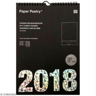 Calendrier 2018 Noir à décorer Paper Poetry - Format A4