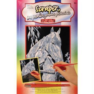 Carte à gratter Scraper Argent 20 x 25 cm - La jument et son poulain