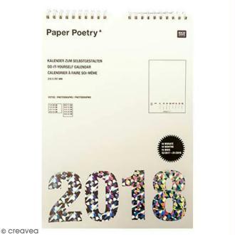 Calendrier 2018 Blanc à décorer Paper Poetry - format A4