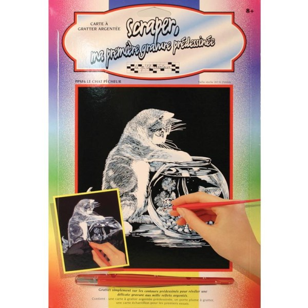 Carte à gratter Scraper Argent 20 x 25 cm - Le chat pêcheur - Photo n°1