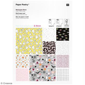 Bloc papier scrap à motifs Halloween - Irisé et Neon - A4 - 30 pcs