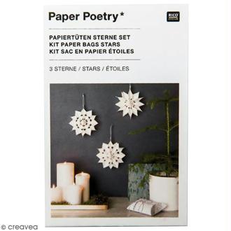 Kit étoile sacs en papier petit modèle - Paper poetry - Blanc