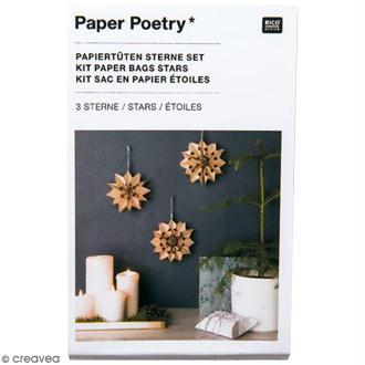 Kit étoile sacs en papier petit modèle - Paper poetry - Kraft
