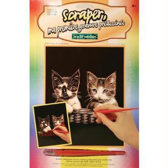 Carte à gratter Scraper Cuivre 20 x 25 cm - Chatons dans le même panier