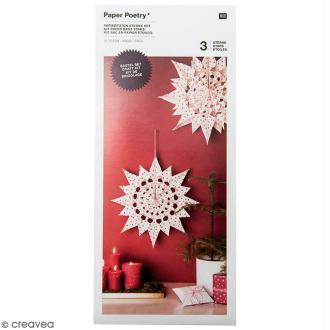 Kit étoile sacs en papier - Paper poetry - Blanc à pois rouges
